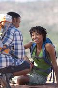 USA, Arizona, Sedona, Young couple hiking and enjoying desert scenery - stock photo