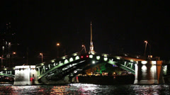 opening drawbridge at night in St. Petersburg Russia - stock footage