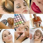 Montage women make up treatment at health spa Stock Photos