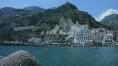 The Shore of the Harbour Porto di Amalfi in Italy - 29,97FPS NTSC Stock Footage