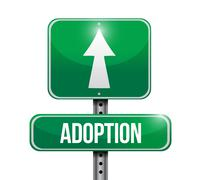 adoption road sign illustration design - stock illustration