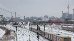 Berlin skyline in winter with train Stock Footage