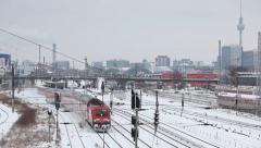 Berlin skyline with Train  in winter Stock Footage
