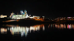 Kazan kremlin with reflection in river at night in russia Stock Footage