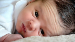 One week old baby boy Stock Footage
