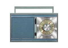 vintage portable radio isolated - stock photo