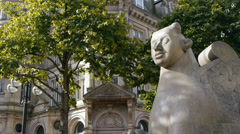 Detail of Victoria Square in Birmingham, England. Stock Footage