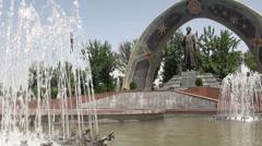 Rudaki statue in Dushanbe, Tajikistan Stock Footage