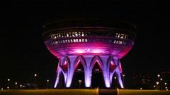New palace wedding illuminated at night in kazan russia Stock Footage