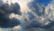 Stock Video Footage of storm clouds converge and close the sun