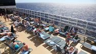 Stock Video Footage of Caribbean vacation on the deck of the ship