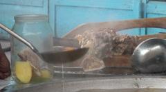 Soup in a jar at Tajik bazaar Stock Footage