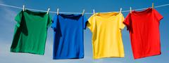 primary colored t-shirts - stock photo