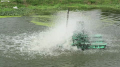 Water turbine working in the pond Stock Footage