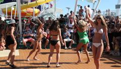 Dance competition on the deck of the cruise ship - stock footage