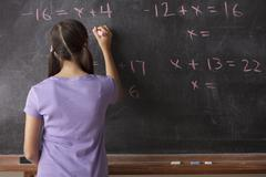 Portrait of schoolgirl (12-13) standing in front of blackboard during math Kuvituskuvat
