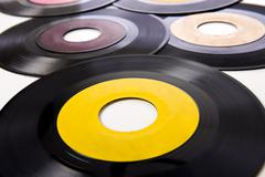 vintage record albums - stock photo