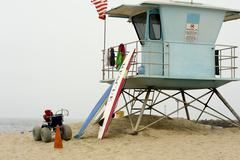 Life guard shack on beach Stock Photos