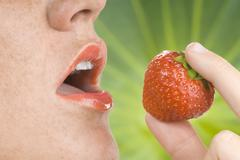 Stock Photo of strawberry and mouth