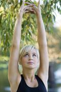 stretching arms - stock photo