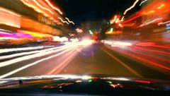 Night car drive around time lapse. Cars leave trace, click for HD Stock Footage