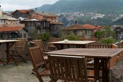 Stock Photo of empty wooden chairs in safranbolu