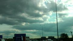 POV driving clip of airplane over motorway england Stock Footage