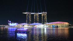 Laser show at the marina bay waterfront Stock Footage