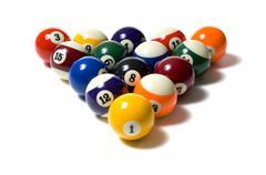 Pool balls on white Stock Photos