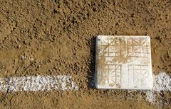 empty base on baseball field - stock photo