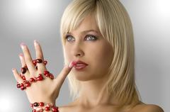 blond with necklace - stock photo