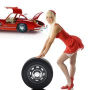 Blond pinup in red Stock Photos
