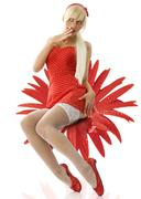 blond pinup in red - stock photo