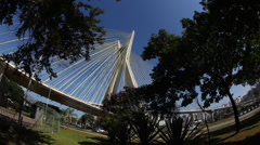 Ponte Estaiada bridge built over the Pinheiros River in the city of Sao Paulo Stock Footage
