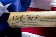 Stock Photo of united states of america constitution scroll