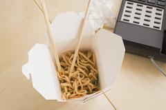 Takeout food on desk Stock Photos