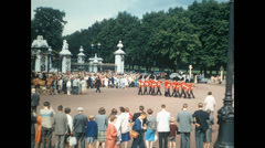 London 1960s: changing Guard at Buckingham Palace Stock Footage