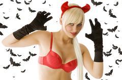 blond sexy devil - stock photo