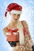 christmas blond beauty - stock photo