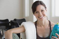 Stock Photo of Portrait of smiling woman in gym