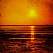 seascape sunset in grunge - stock illustration