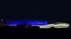 "Night illumination of the olympic stadium ""adler-arena"". sochi. russia. timel Stock Footage"