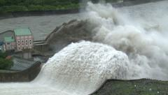 Massive Flood Water Release From Dam Spillway - stock footage