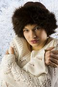 winter woman with fur hat - stock photo