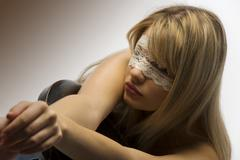 girl with lace mask - stock photo
