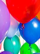 party balloons on white - stock photo