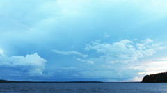 Approaching storm on lake after sunset - timelapse 4k Stock Footage