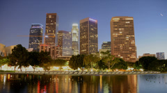 Time Lapse of Scenic Downtown Los Angeles at Night Stock Footage