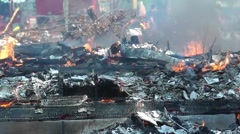 Amid the Force of Nature - House Burns To the Ground in a Fire - stock footage