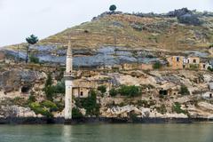 sunken village savasan in halfeti - stock photo